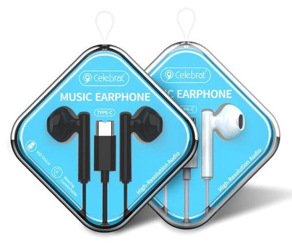 CELEBRAT earphones με μικρόφωνο G16, Type-C, 1.2m, μαύρα 2
