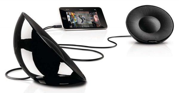 POWERTECH MP3 Player με Philips φορητά παθητικά ηχεία (μαύρο)