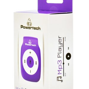 POWERTECH MP3 Player με clip, επαναφορτιζόμενο, microSD, Μωβ 1