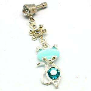 Κοσμήματα Κινητού Γυάλινη Γάτα (γαλάζιο)