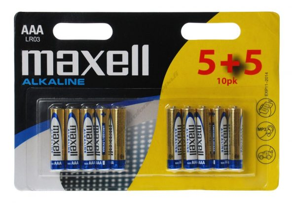 MAXELL Αλκαλικές μπαταρίες AAA LR03, 5 + 5 τεμάχια, blister