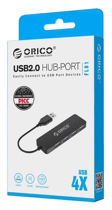 ORICO USB 2.0 Hub FL01, 4x USB, μαύρο 3