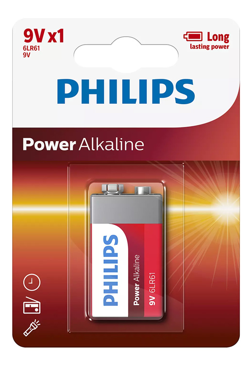 PHILIPS Power αλκαλικές μπαταρίες 6LR61P1B10, 6LR61 9V, 1τμχ
