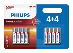 PHILIPS Power αλκαλικές μπαταρίες LR03P8BP5, AAA LR03 1.5V, 8τμχ