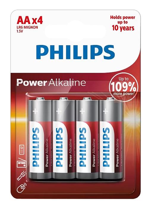 PHILIPS Power αλκαλικές μπαταρίες LR6P4B10, AA LR6 1.5V, 4τμχ