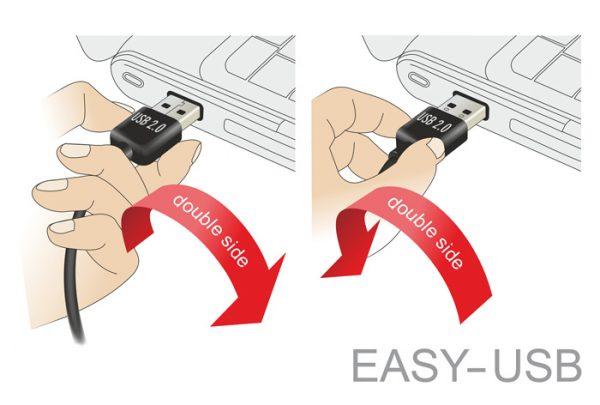 POWERTECH Καλώδιο USB 2.0 (M) σε USB 2.0 (F), Dual Easy USB, 1.5m, Black