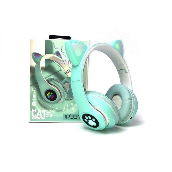 Ασύρματα ακουστικά Cat Headphones With 7 Color Light