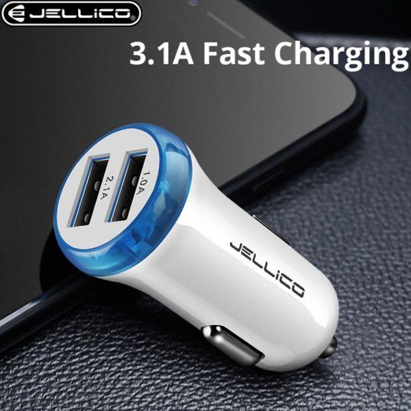 Φορτιστής Αυτοκινήτου JELLICO FC-32 Dual USB 3.1A (άσπρο) 1