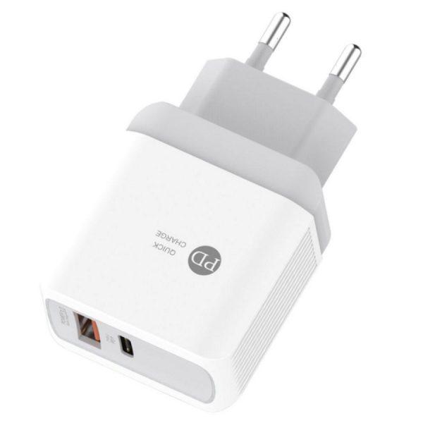 Φορτιστής Xnous QC20 Quick Charger 3.0 USB 3 & PD 20W (άσπρο)