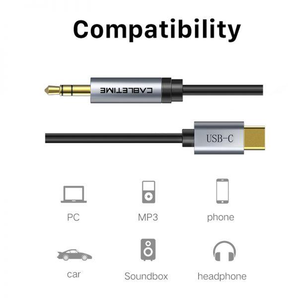 CABLETIME καλώδιο AUX USB Type-C σε 3.5mm C160, 1m, μαύρο 1